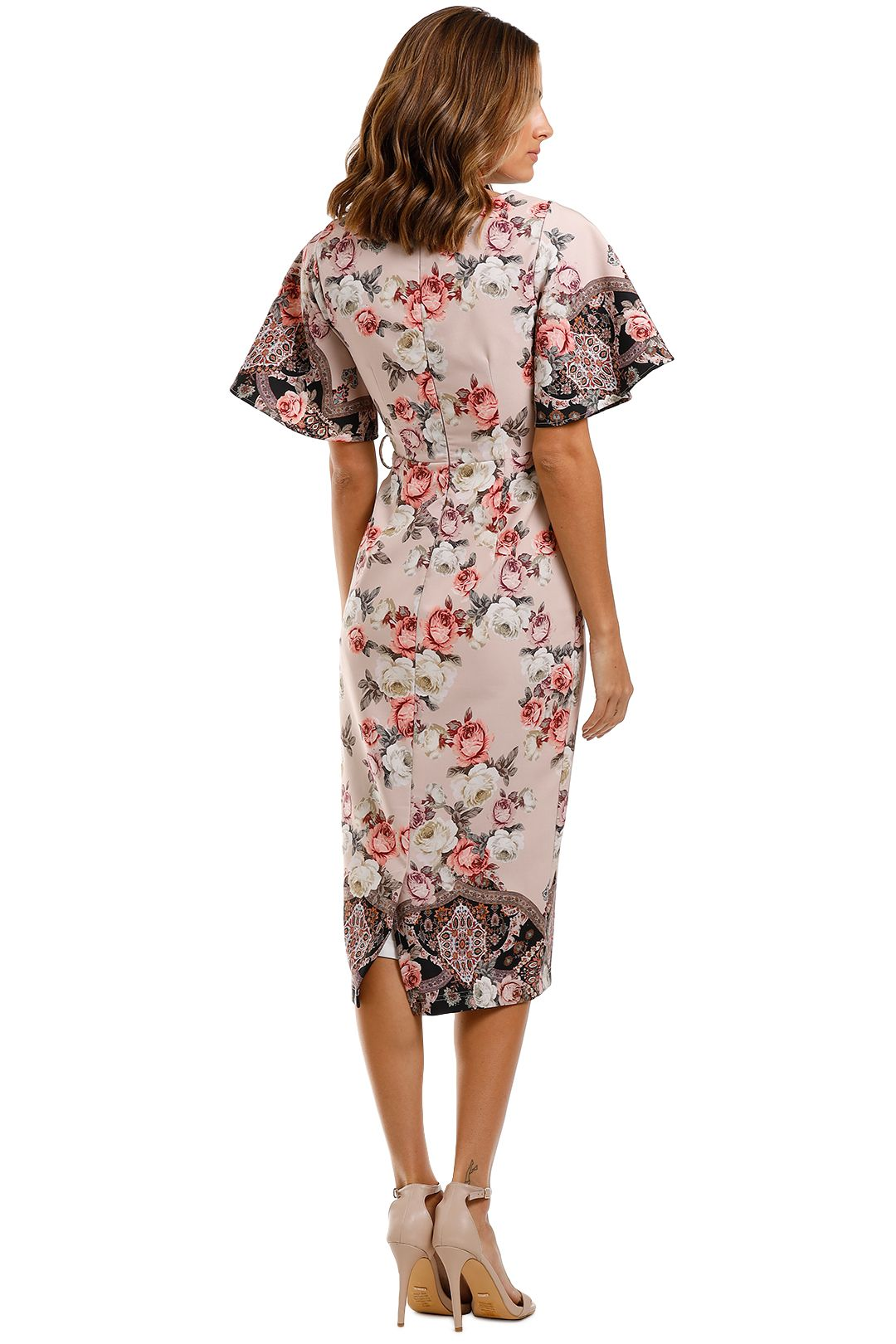 Pasduchas Chichi Sleeve Midi Dress Floral sweetheart neckline