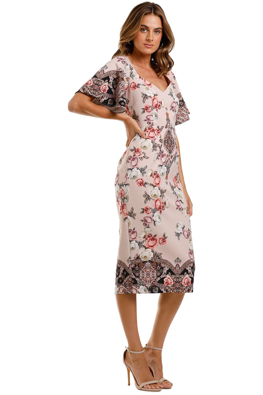 Pasduchas Chichi Sleeve Midi Dress Floral Blush