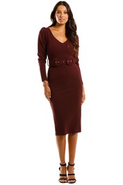 Pasduchas Clich Midi Port Burgundy Dress Fitted Long Sleeves