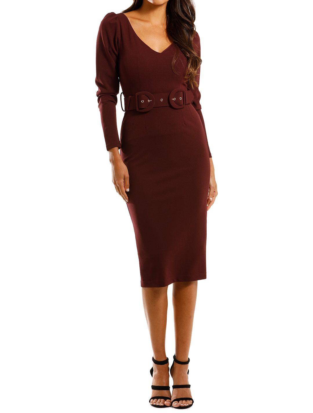 Pasduchas Cliché Midi Port Burgundy Dress Fitted Long Sleeves