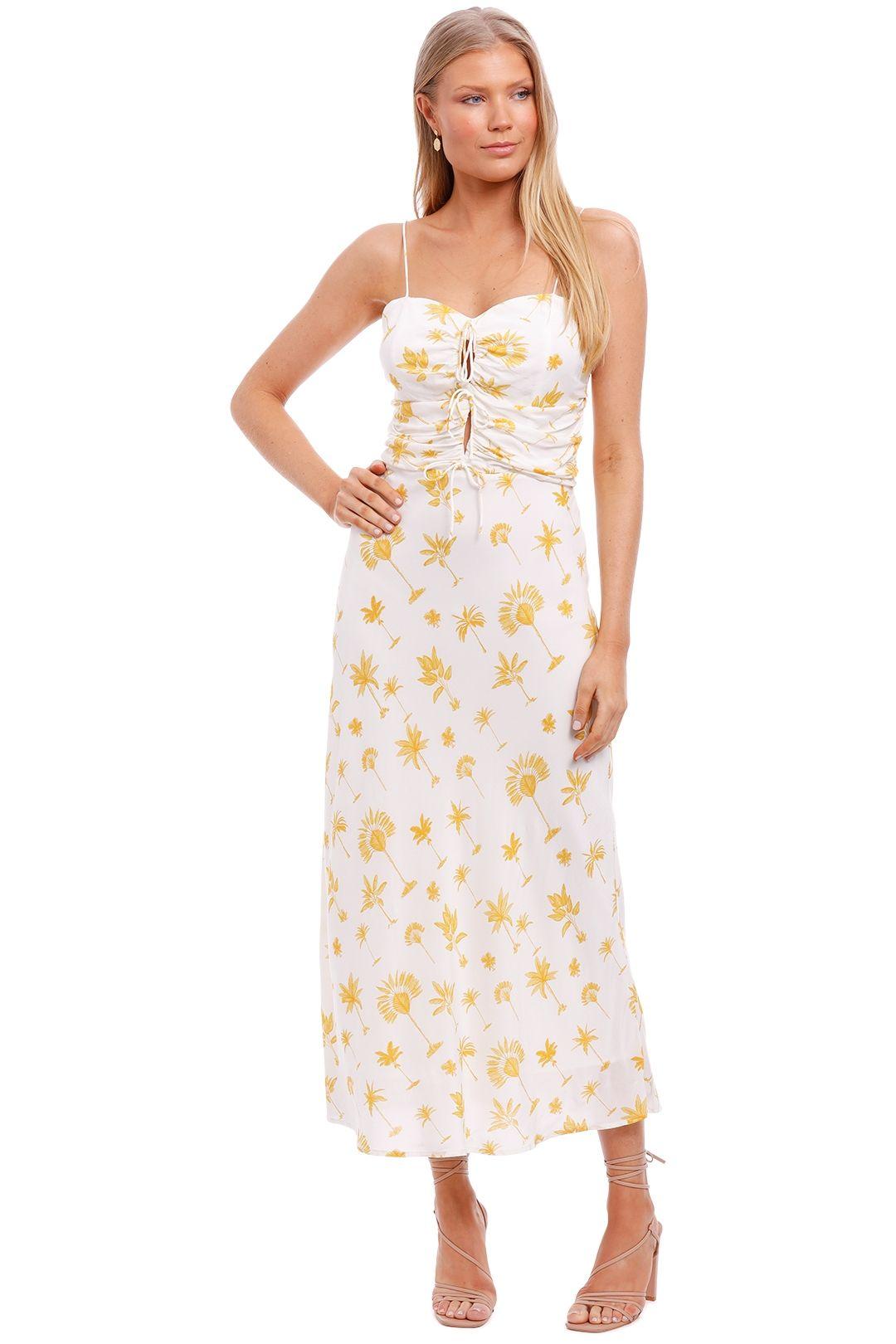 Pasduchas Fiesta Tie Midi White Yellow Print