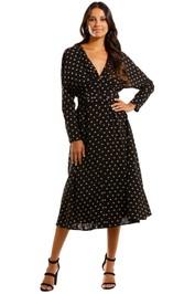 Pasduchas La Rochelle Midi Black Taupe Polkadot Dress Vintage