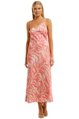 Pasduchas Pascale Asymmetric Midi Dress Guava Asymmetric Neckline