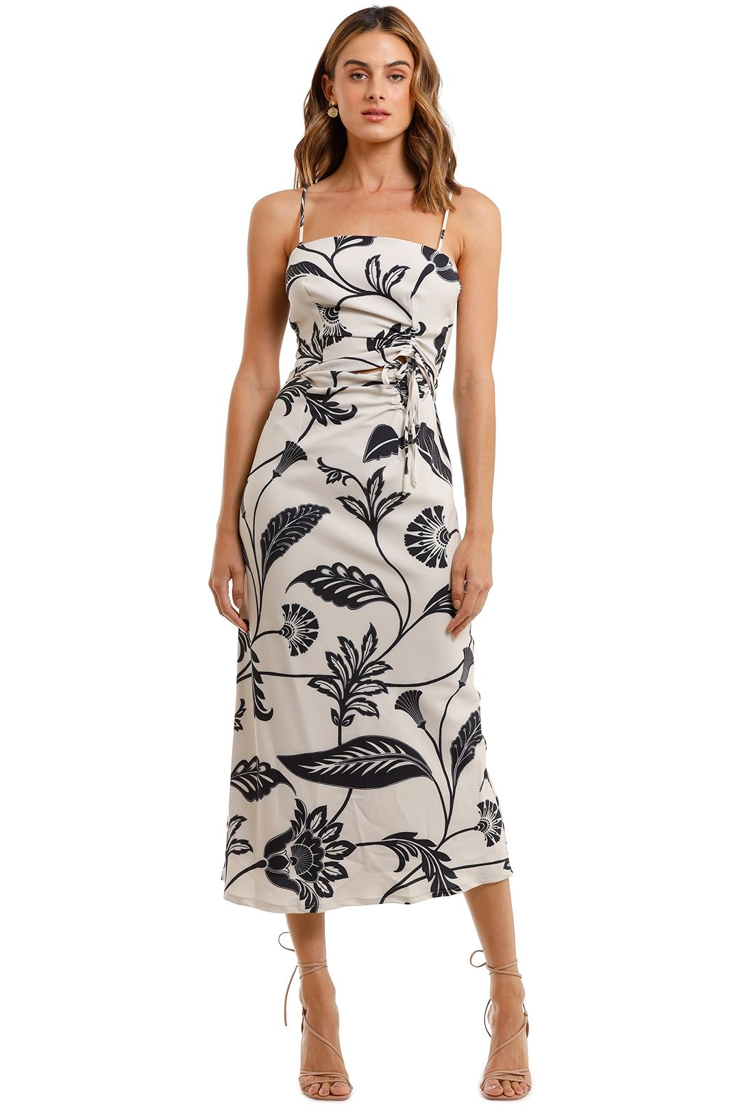 Pasduchas Solstice Drawstring Midi Dress Floral
