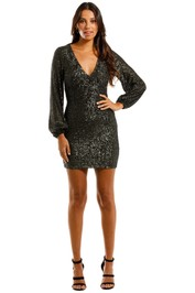 Pasduchas Spangle Dress Combat Mini Sequins Plunge V neckline