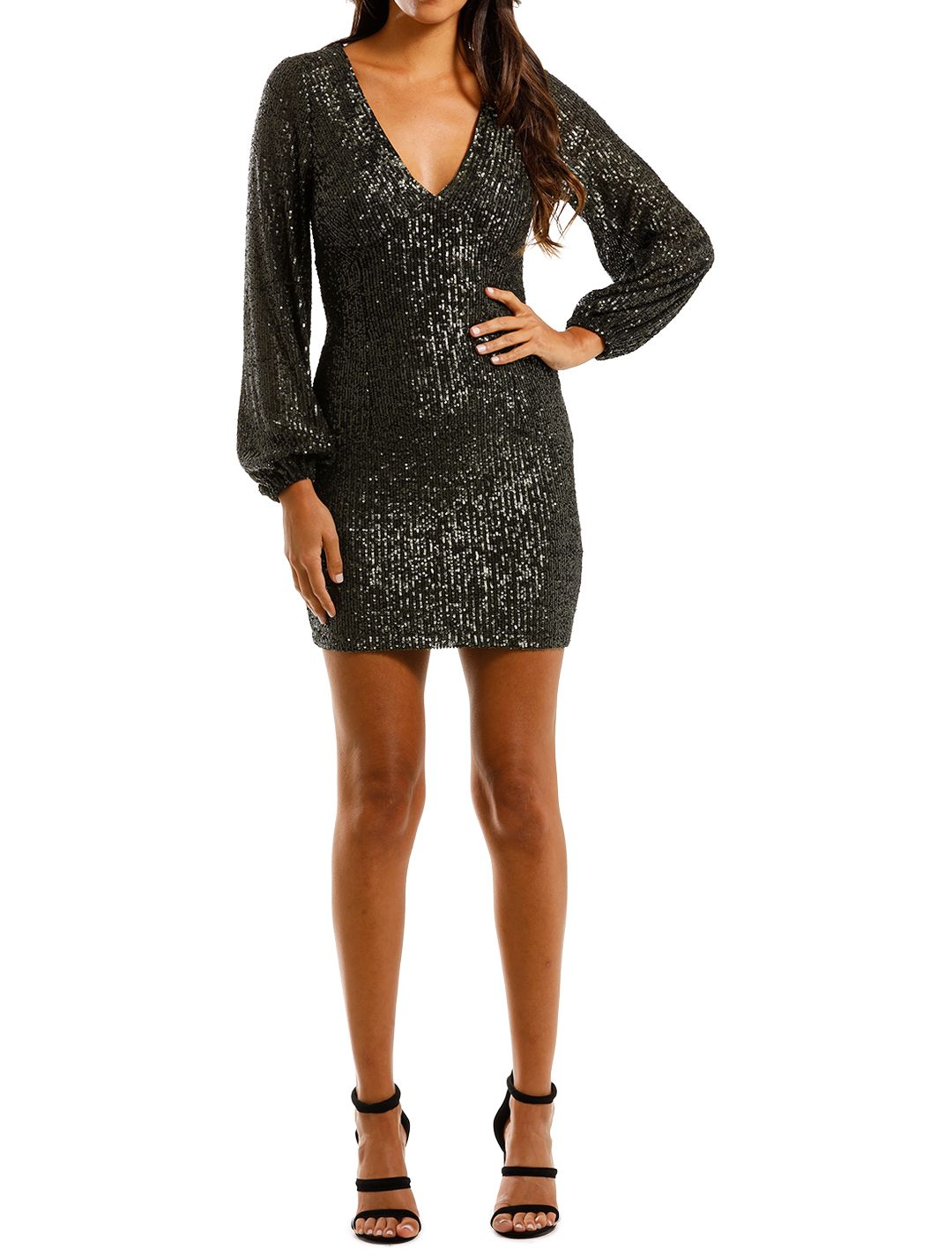 Pasduchas Spangle Dress Combat Mini Sequins Plunge V neckline