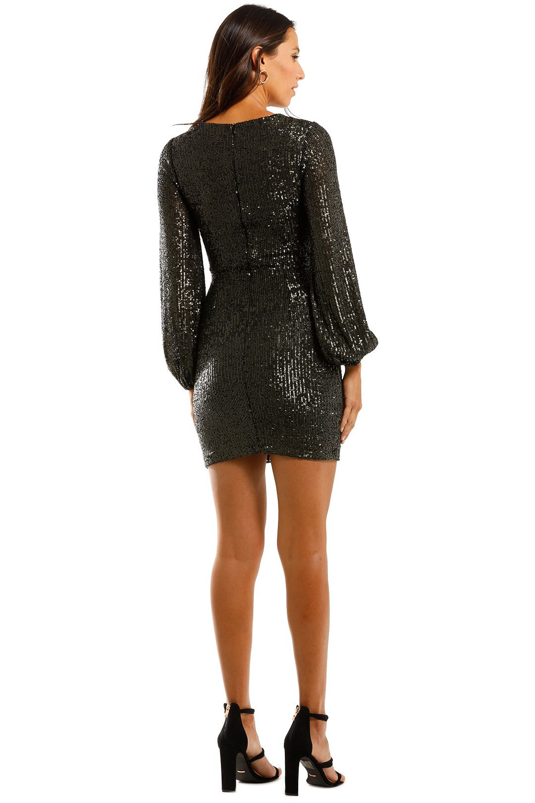 Pasduchas Spangle Dress Combat Mini Sequins Black Gold