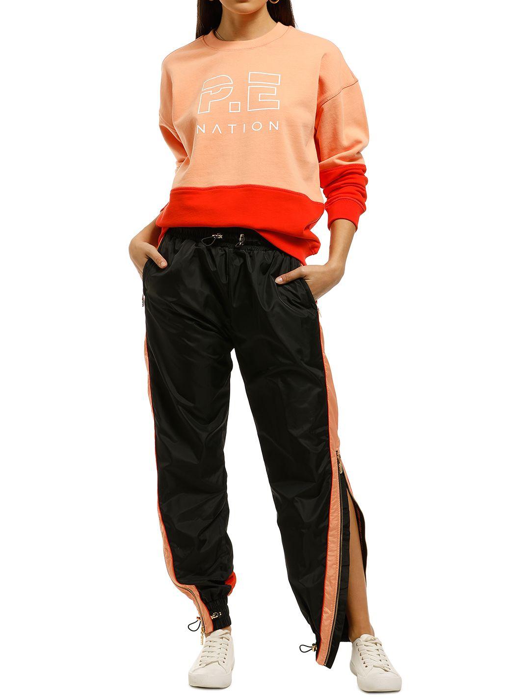 PE-Nation-Cutshot-Pant-Black-Orange-Front