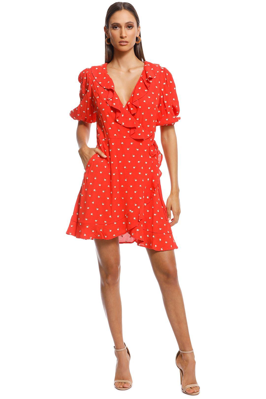 Perseverance London - Margarita Embroidered Crepe Ruffled Wrap Mini Dress - Orange - Front