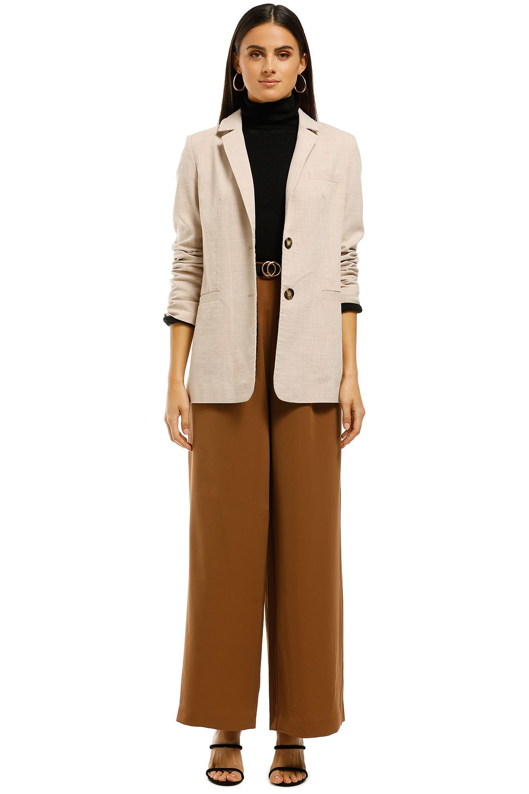 Friend of Audrey - Peta Textured Blazer - Beige - Front