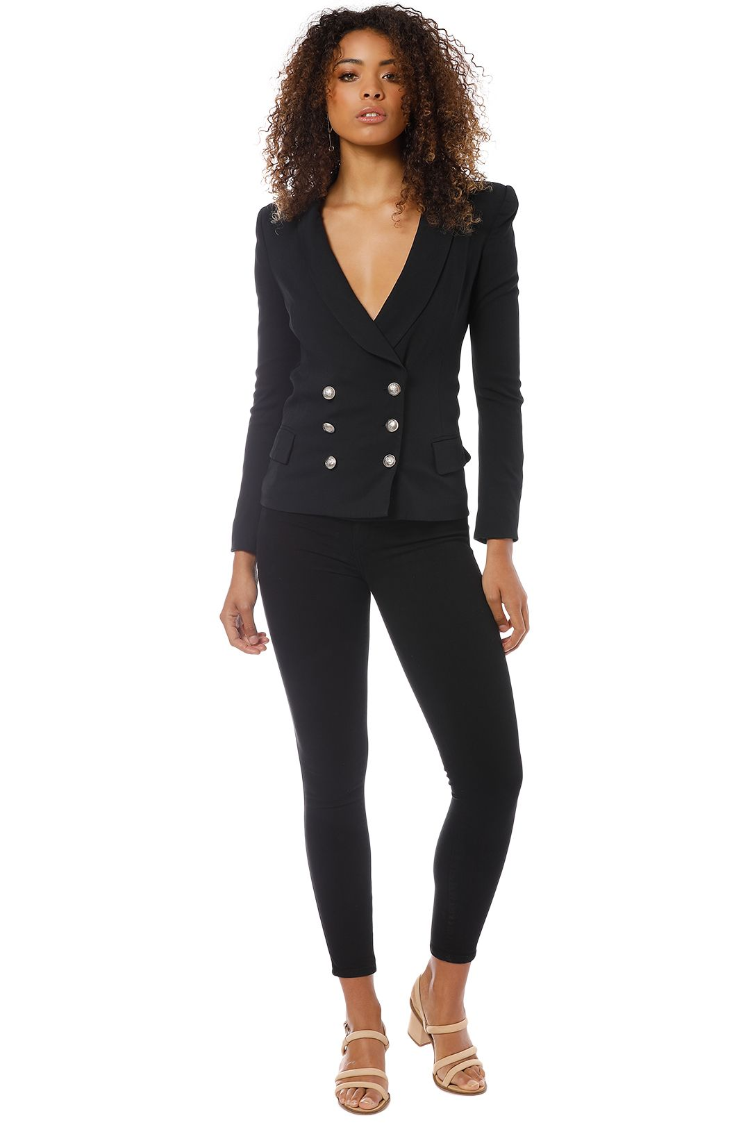 Pierre Balmain - Double-Breasted Crepe Blazer - Black - Front