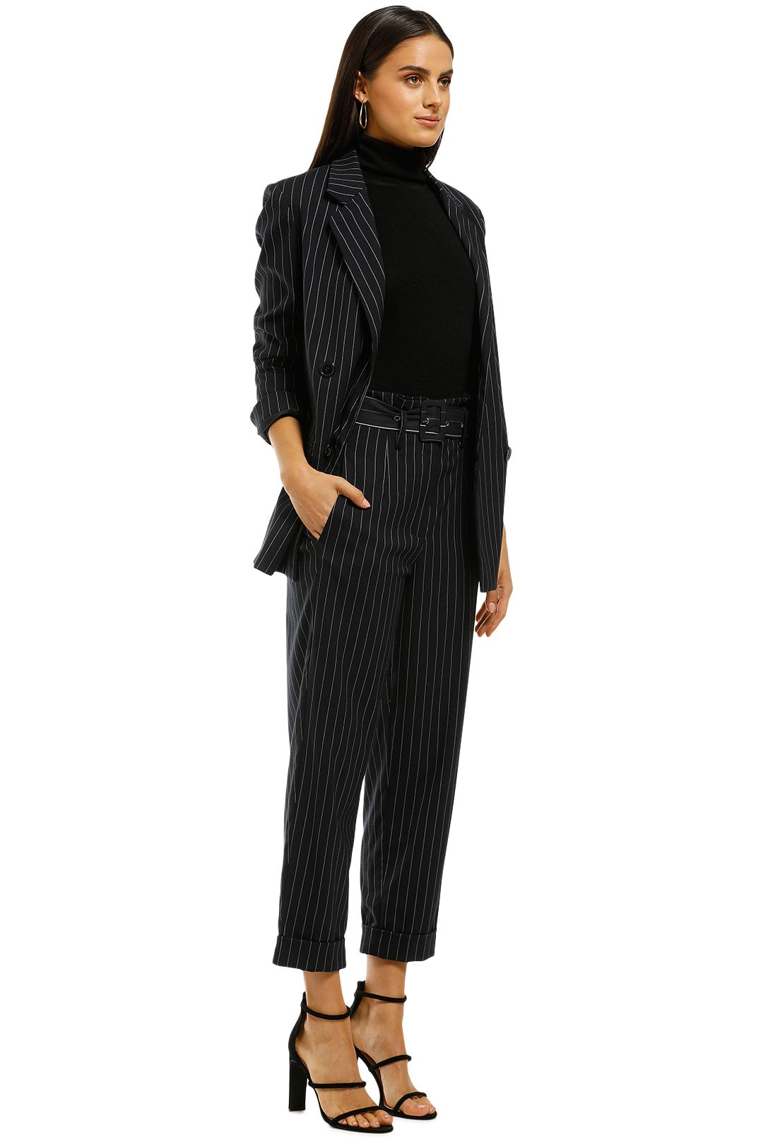 Nicholas the Label - Pinstripe Suiting Pant - Navy - Side