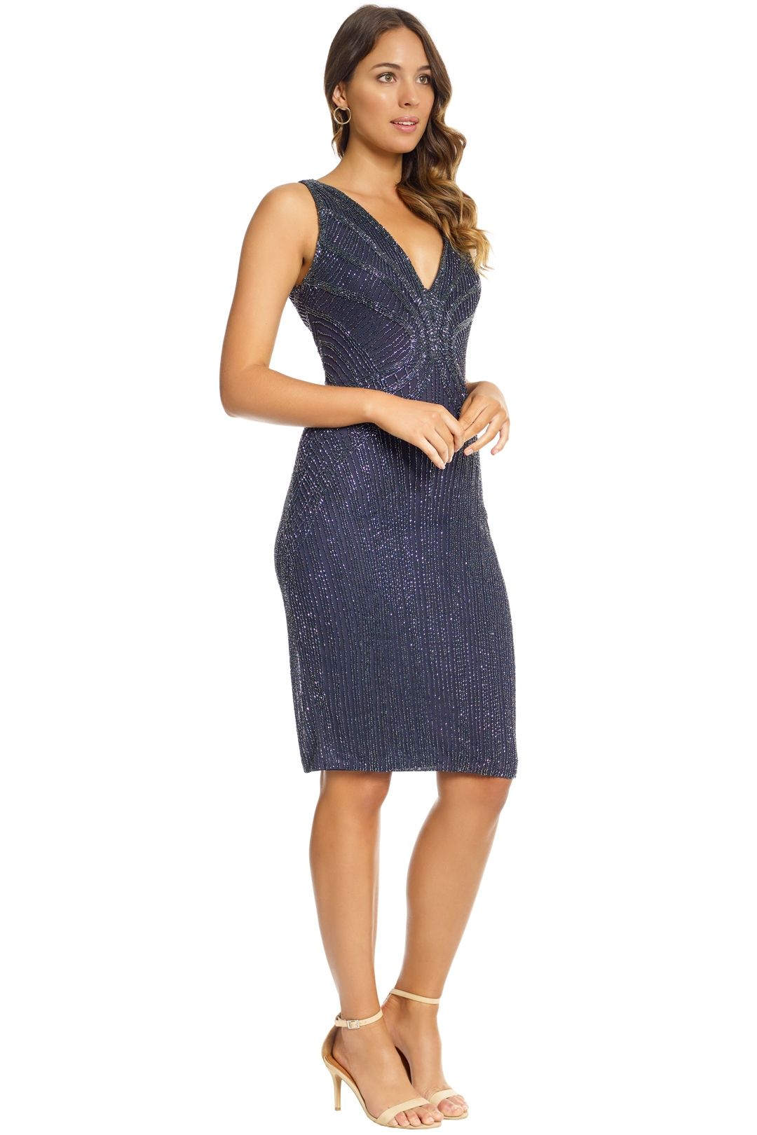 Rachel Gilbert - Layla Dress - Navy Sequin - Side