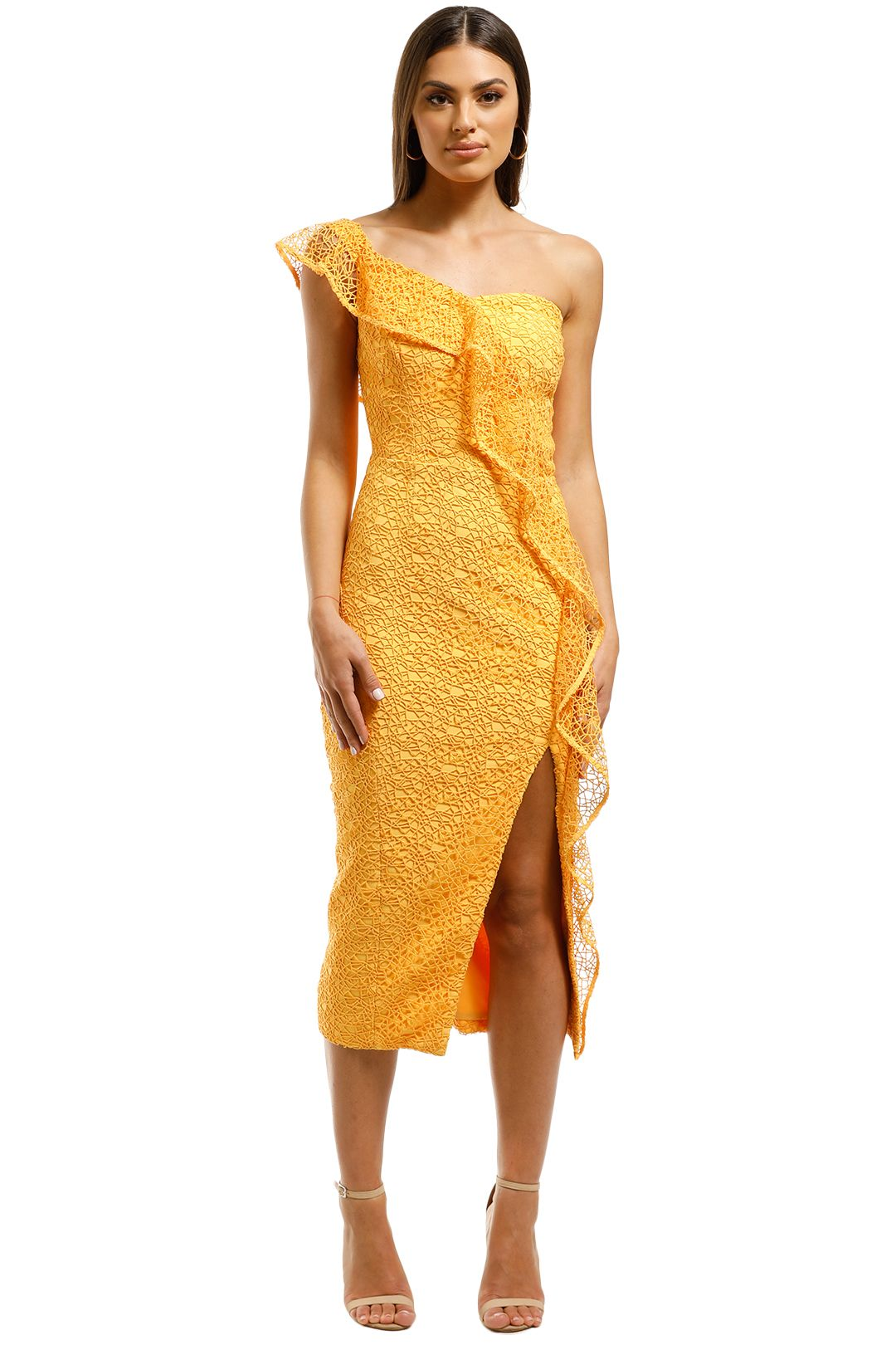Rebecca-Vallance-Baha-Strapless-Midi-Dress-Yellow-Front