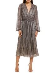 Rebecca-Vallance-Bellagio-Dress-Pink-Metallic-Stripe-Front
