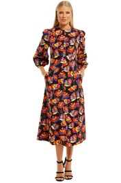 Rebecca-Vallance-Cintia-LS-Midi-Dress-Print-Front