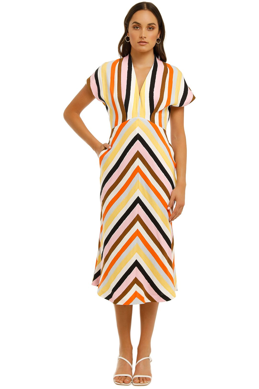 Rebecca-Vallance-Franklin-SS-Midi-Dress-Stripe-Front