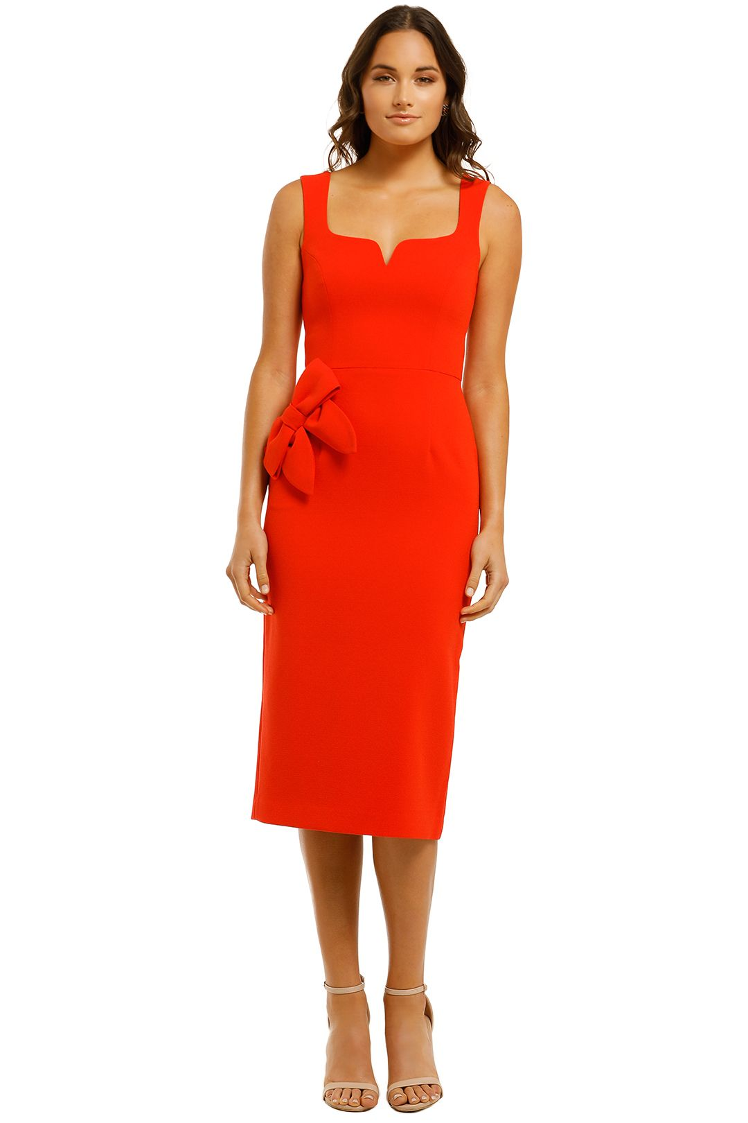 Rebecca-Vallance-Galerie-Bow-Midi-Dress-Red-Front