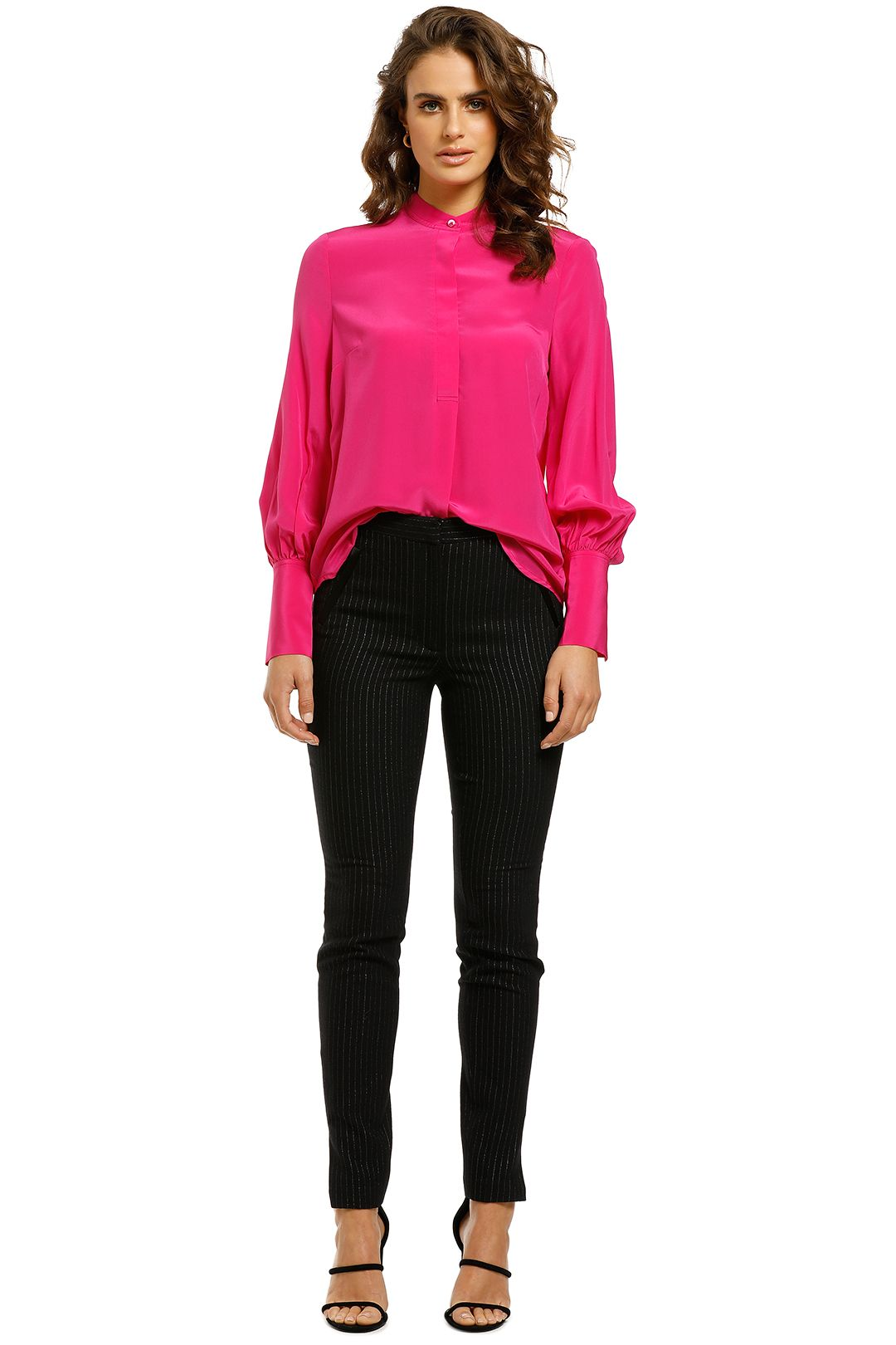 Rebecca-Vallance-Lillian-LS-Blouse-Hot Pink-Front