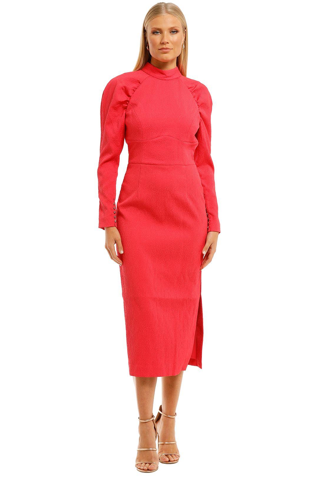 Rebecca-Vallance-Martini-LS-Midi-Dress-Pink-Front