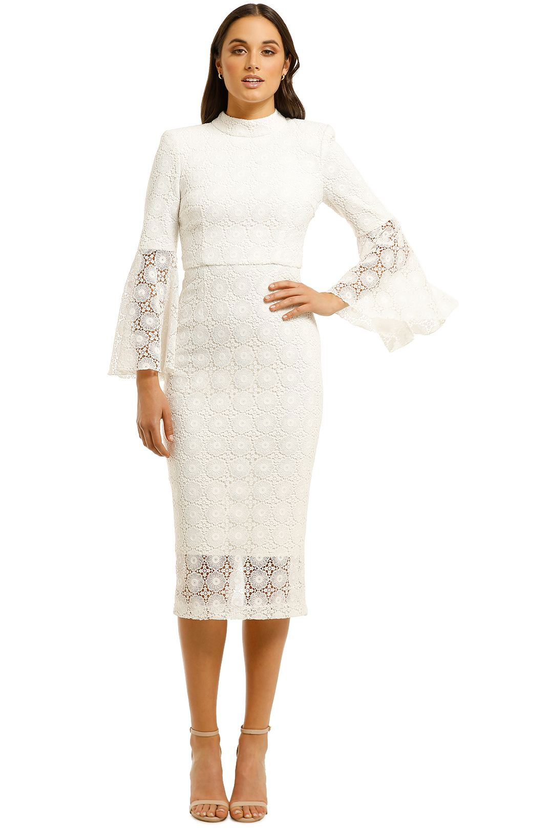 Rebecca-Vallance-Mireya-Flare-Sleeve-Dress-Ivory-Front