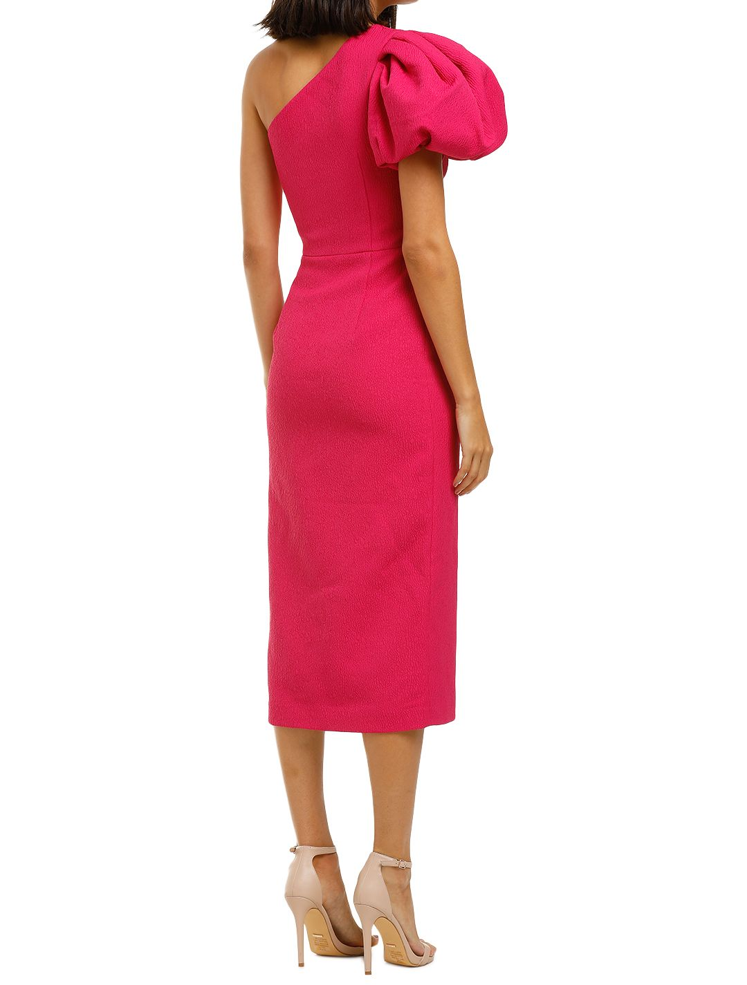 Rebecca-Vallance-Natalia-One-Sleeve-Midi-Dress-Magenta-Back