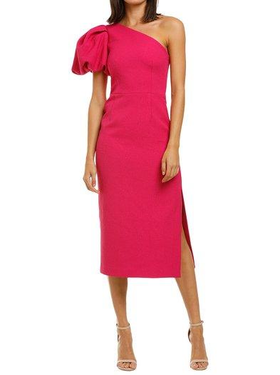 Rebecca Vallance - Natalia One Sleeve Midi Dress - Magenta