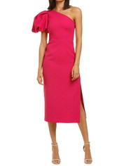 Rebecca-Vallance-Natalia-One-Sleeve-Midi-Dress-Magenta-Front