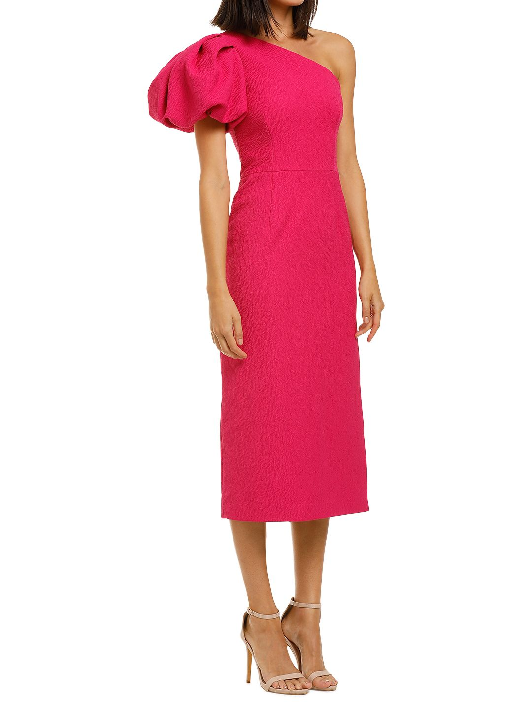 Rebecca-Vallance-Natalia-One-Sleeve-Midi-Dress-Magenta-Side