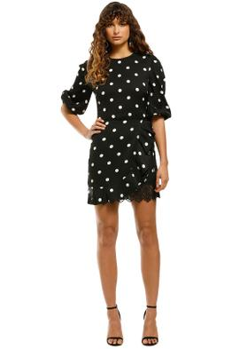 Rebecca-Vallance-Penelope-LS-Mini-Dress-Black-Spot-Front