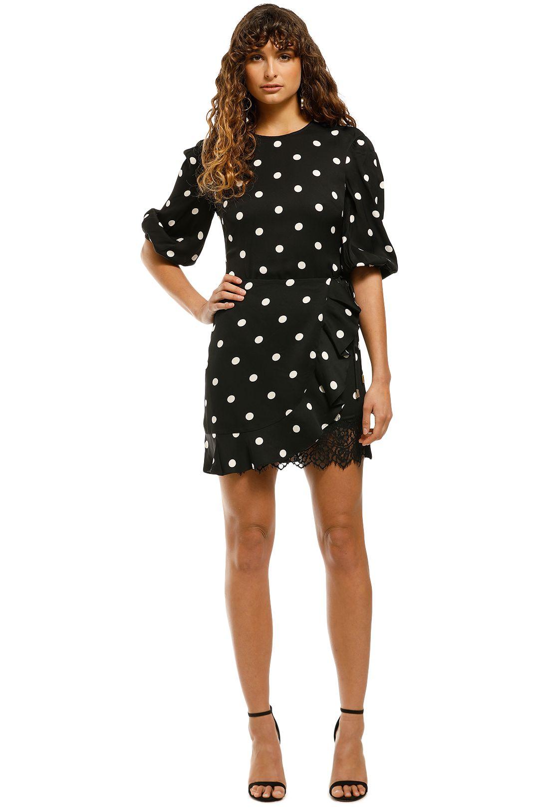 Rebecca-Vallance-Penelope-LS-Mini-Dress-Black-Spot-Front
