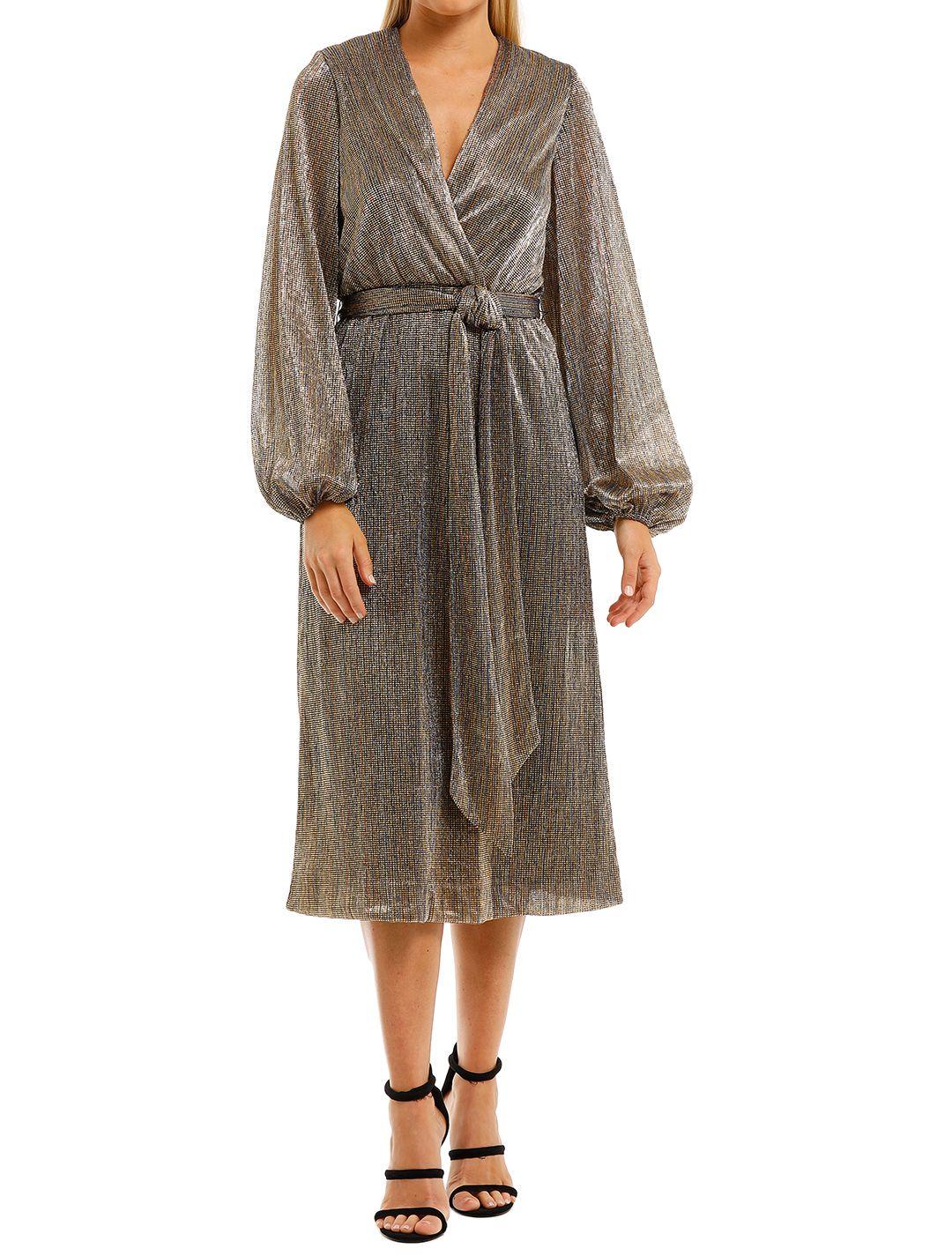 Rebecca-Vallance-Rivero-LS-Midi-Dress-Gold-Front