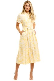 Rebecca-Vallance-Rousseau-SS-Midi-Dress-Yellow-Front