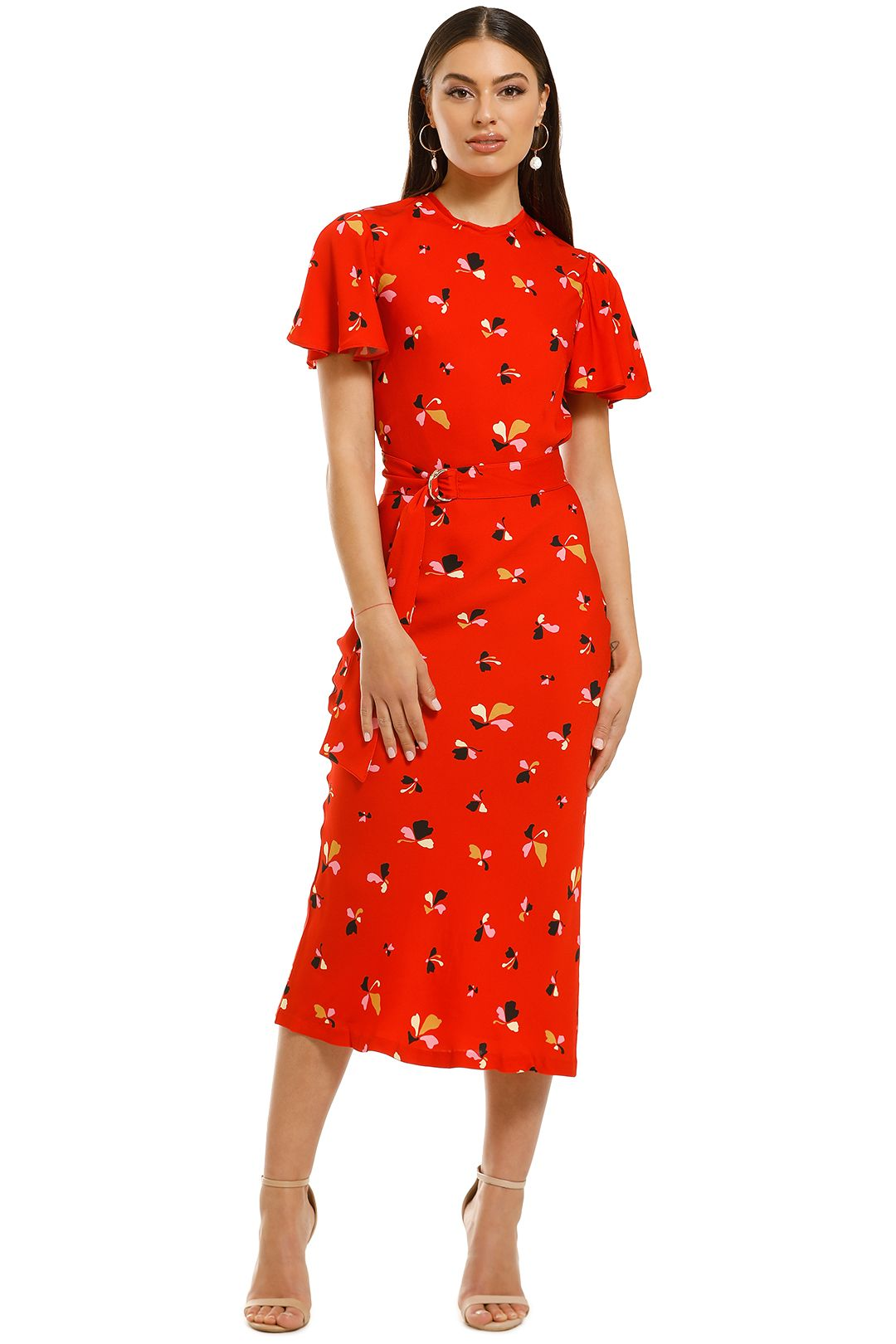 Rebecca-Vallance-Ruby-SS-Midi-Dress-Red-Print-Front