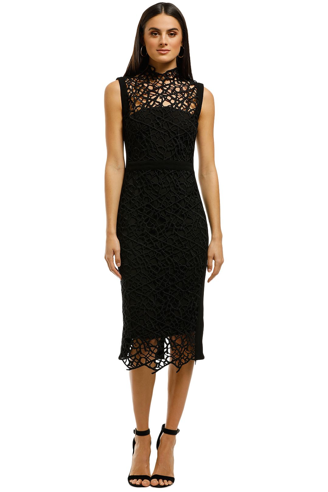 Rebecca-Vallance-Sophia-Lace-Midi-Dress-Black-Front