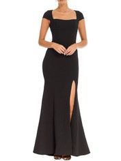 Rebecca Vallance - Adriatic Open Back Gown - Black - Front