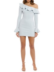 Rebecca Vallance - Aegean Off Shoulder Mini Dress - Blue - Front