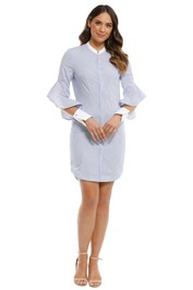 Rebecca Vallance - Cassia Stripe Shirt Dress - Blue - Front