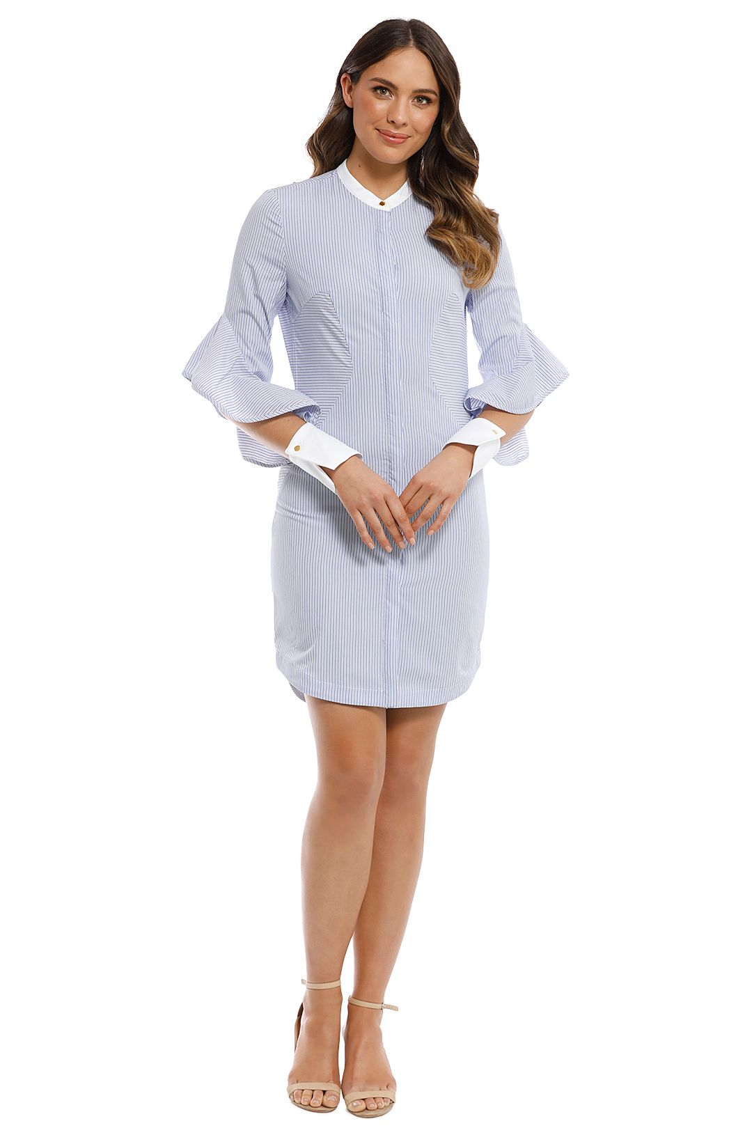 Rebecca Vallance - Cassia Stripe Shirt Dress - Blue - Front