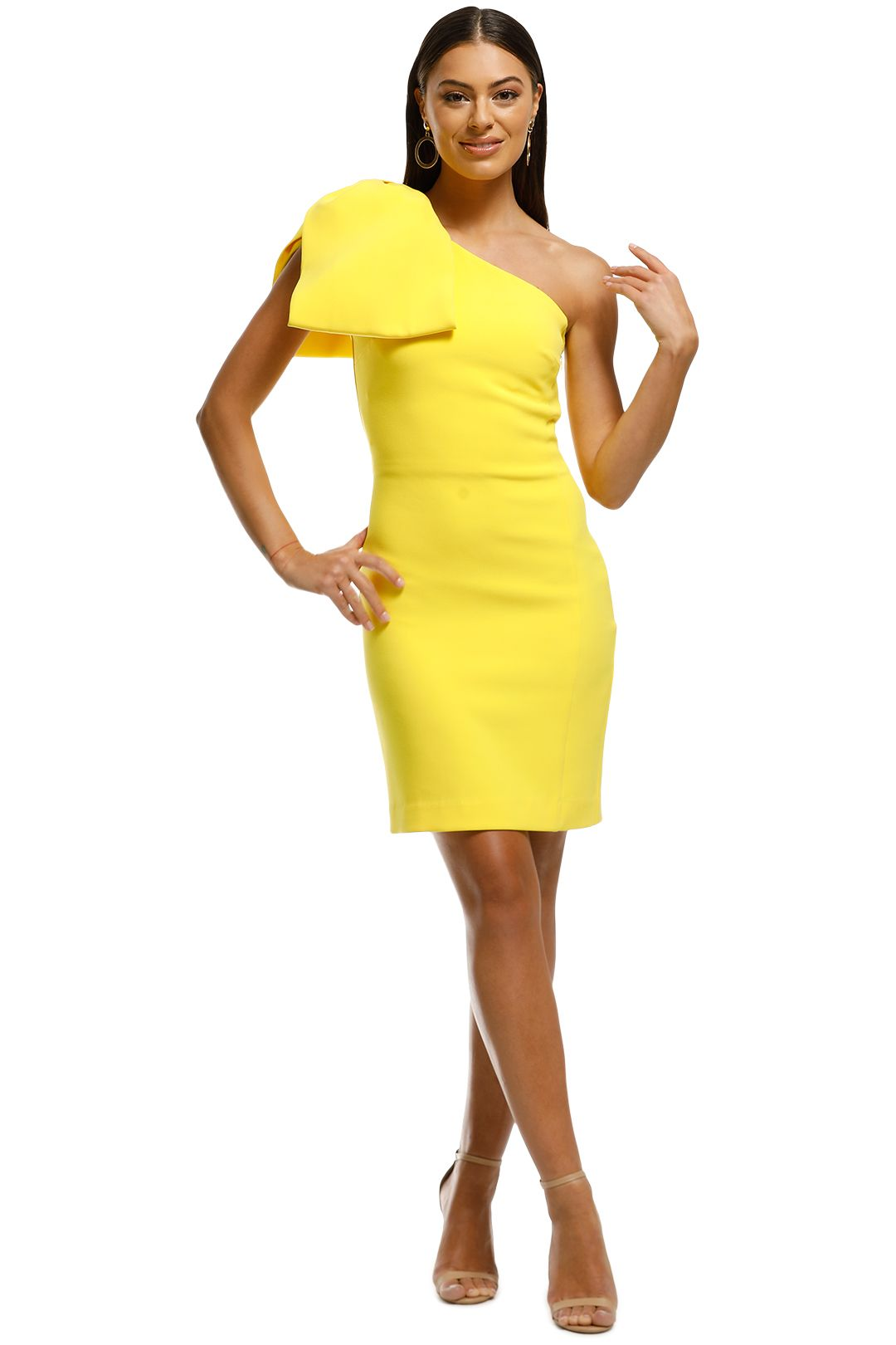 Rebecca Vallance - Hamptons Bow Mini Dress - Yellow - Front