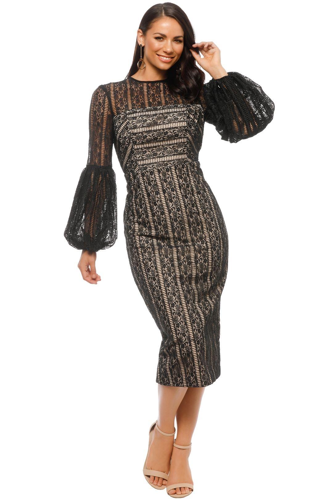 Rebecca Vallance - Lou Lou Gather Sleeve Dress - Black - Front
