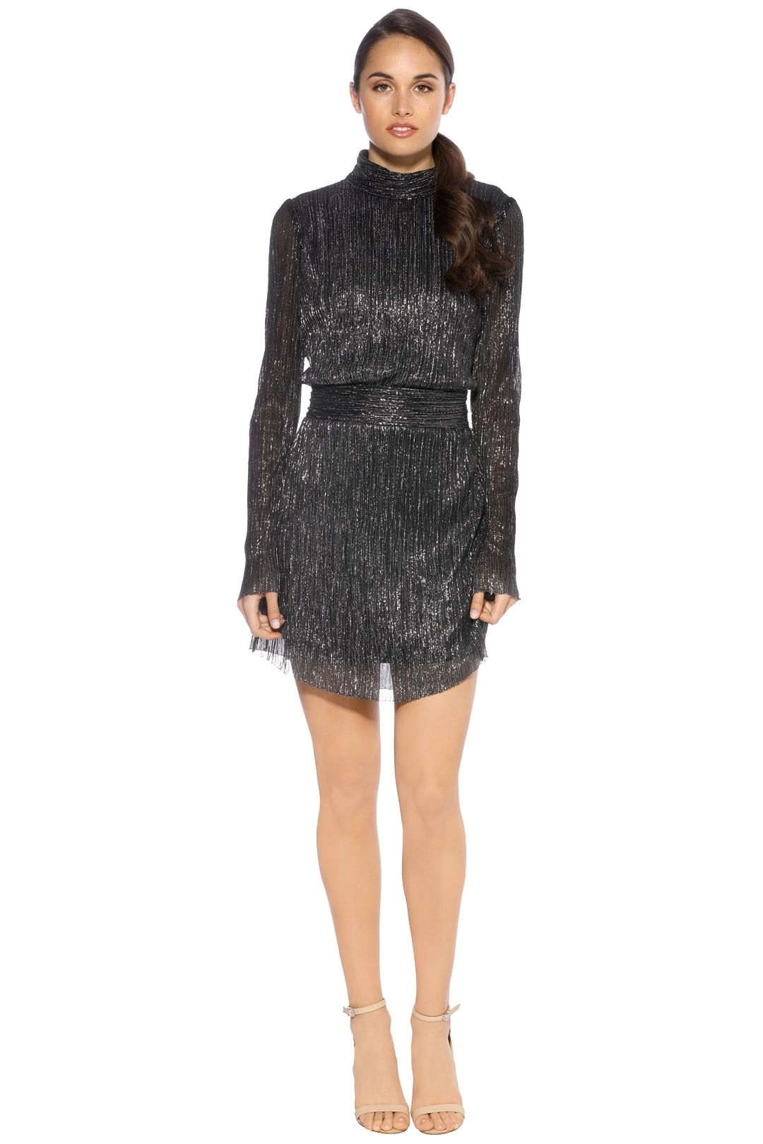 Rebecca Vallance - Paprazzi Long Sleeve Mini Dress - Metallic Silver - Frotn