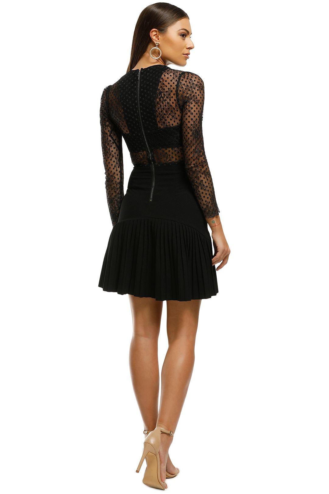 Rebecca Vallance - Spot Lace Mini Dress - Black - Back