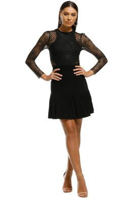 Rebecca Vallance - Spot Lace Mini Dress - Black - Front