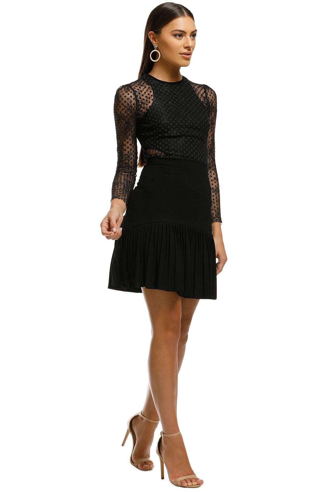 Rebecca Vallance - Spot Lace Mini Dress - Black - Side