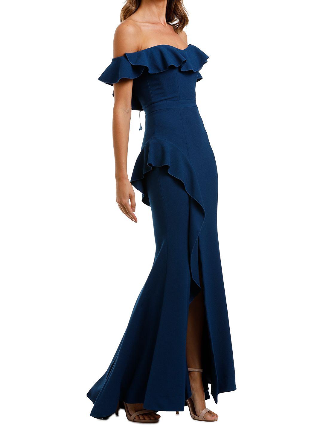 Rebecca Vallance Aegean Off Shoulder Gown Blue