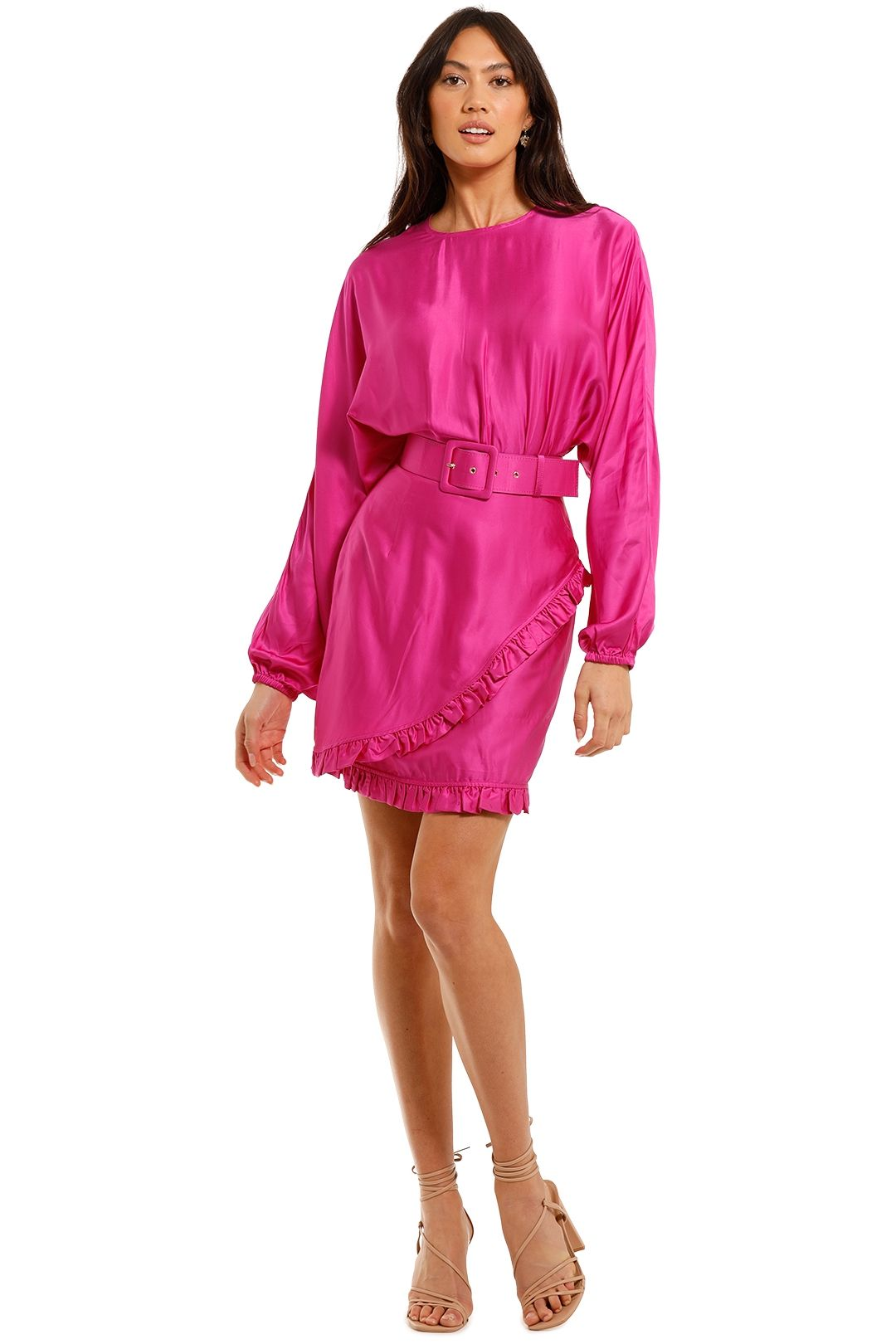 Rebecca Vallance Ameigo LS Mini Dress Magenta