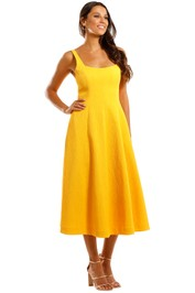 Rebecca Vallance Andie Strap Midi Dress Yellow A line