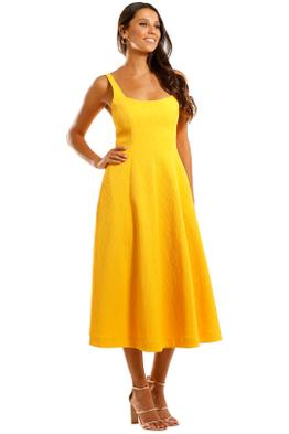 Rebecca Vallance Andie Strap Midi Dress Yellow A line