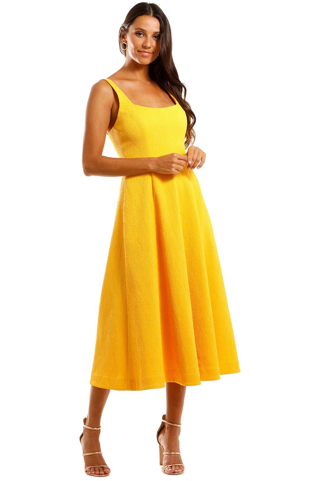 Rebecca Vallance Andie Strap Midi Dress Yellow Straight Neckline